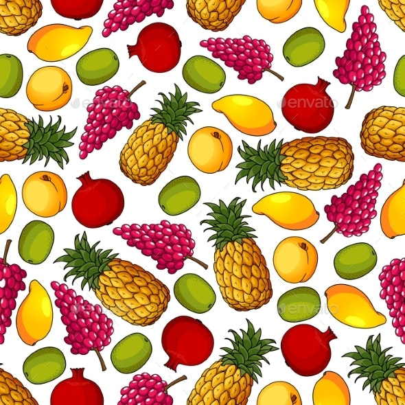 Fresh Tropical Fruits Seamless Pattern - Backgrounds Decorative