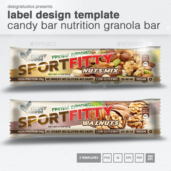 Label Design Template Candy Bar Nutrition Granola Bar