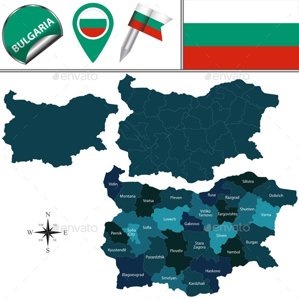 Map of Bulgaria with Named Provinces - Travel Conceptual