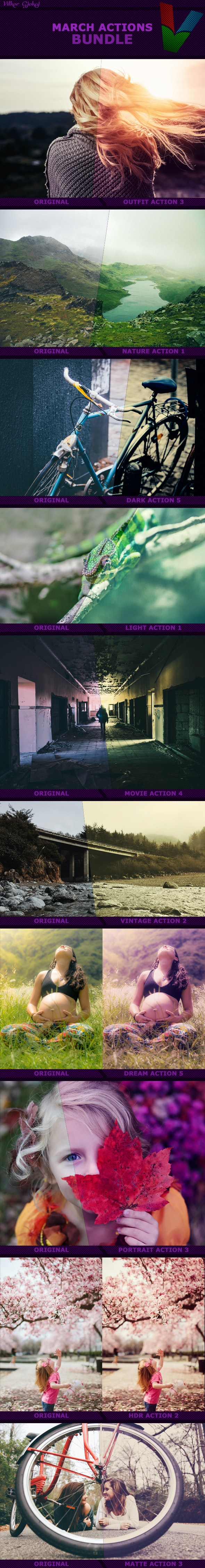 March Photoshop Actions BUNDLE - Photo Effects Actions