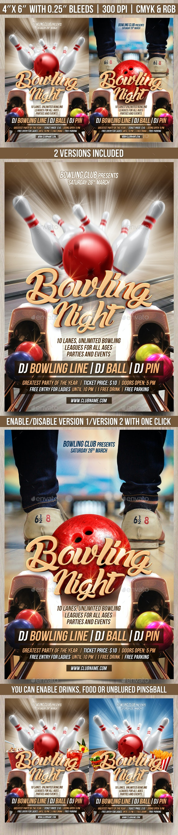 Bowling Night Flyer Template - Events Flyers
