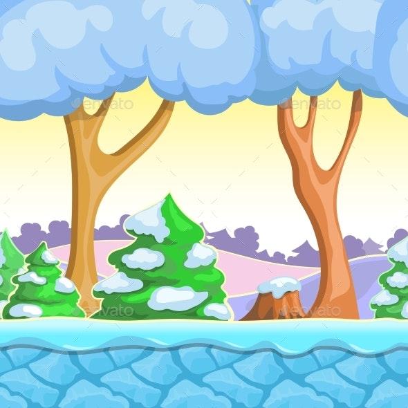 Seamless Cartoon Winter Landscape Snow Trees - Landscapes Nature