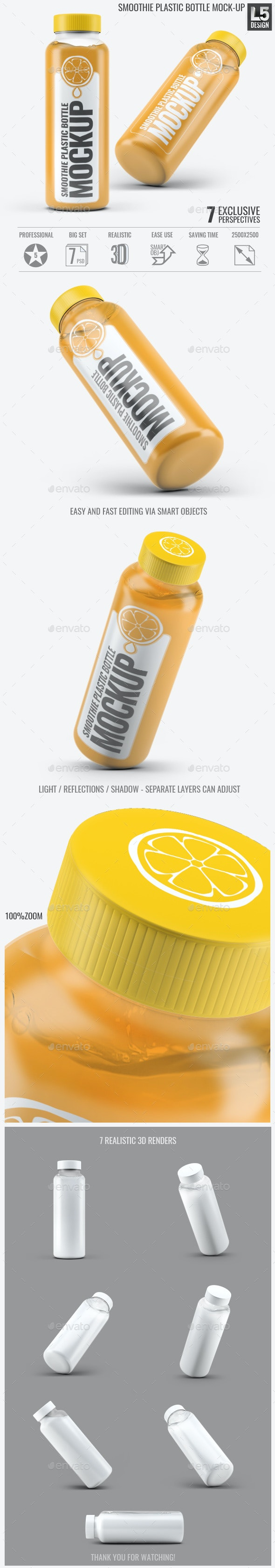 Smoothie Plastic Bottle Mock-Up - Food and Drink Packaging