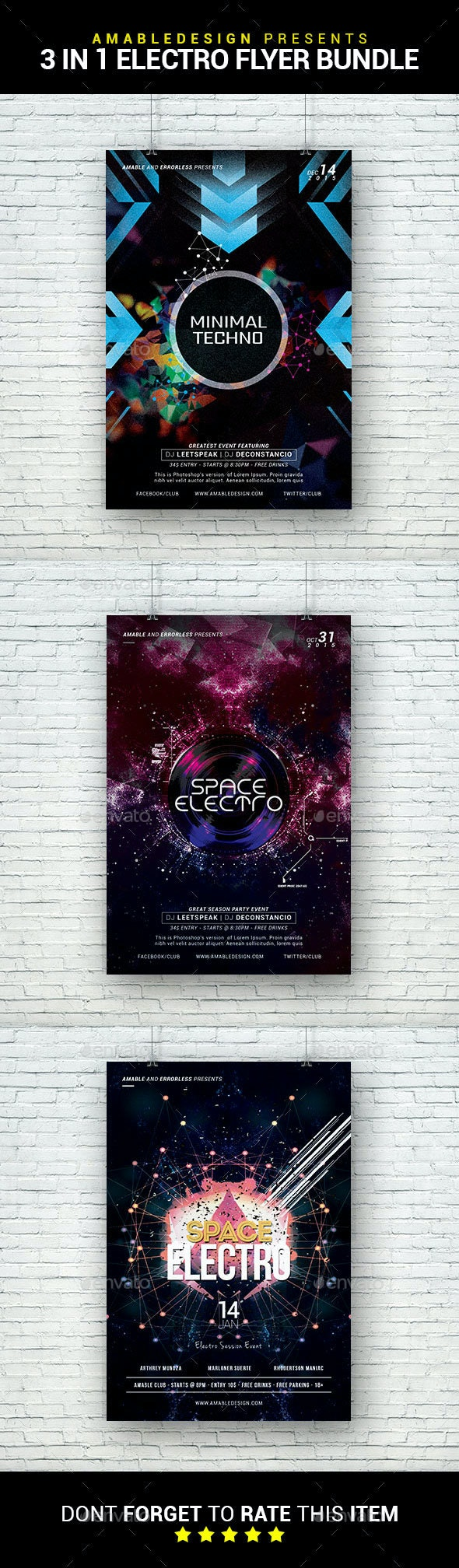 3 in 1 Electro Flyer/Poster Bundle - Clubs & Parties Events