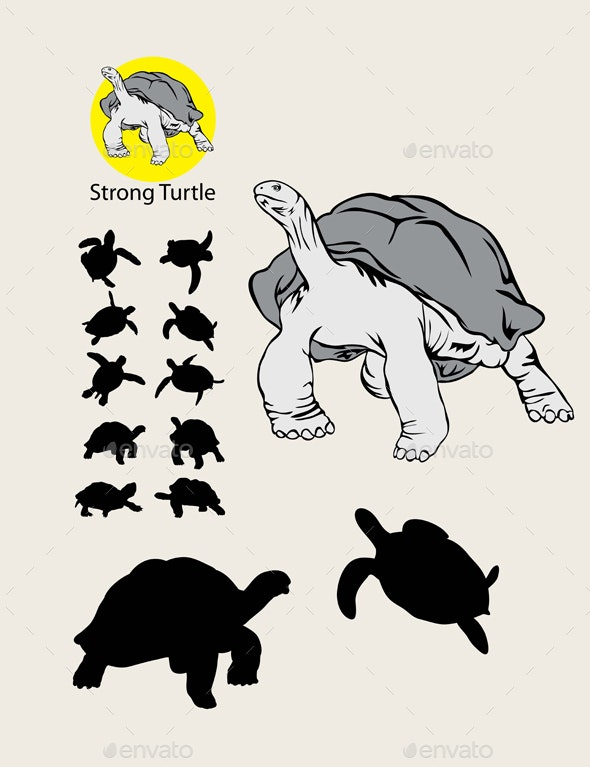 Turtle Silhouette and Logo - Animals Characters