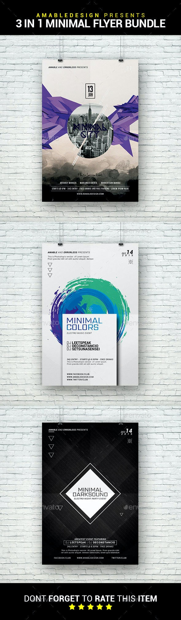 3 in 1 Minimal Flyer/Poster Bundle - Clubs & Parties Events