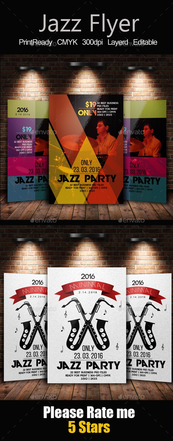Jazz Flyer & Poster Template Bundle - Clubs & Parties Events
