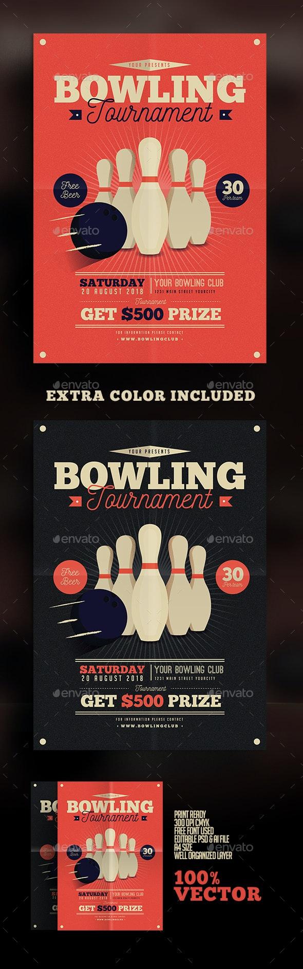 Vintage Bowling Tournament Flyer - Sports Events
