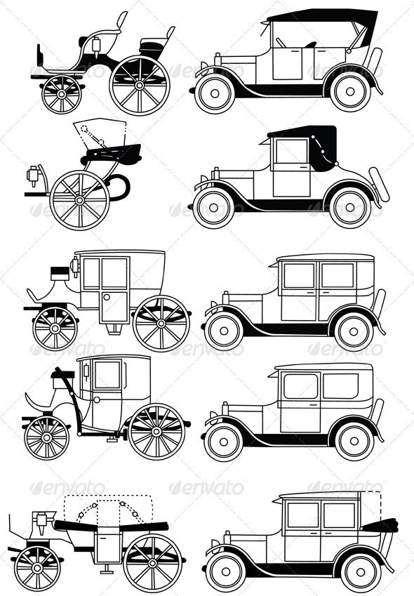Set of the Retro Cars. P.1 - Man-made Objects Objects