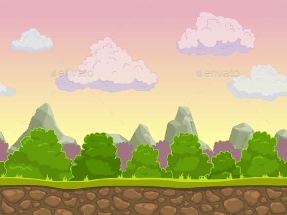 Cartoon Seamless Nature Landscape - Landscapes Nature