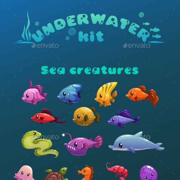 Cartoon Underwater Icons Set