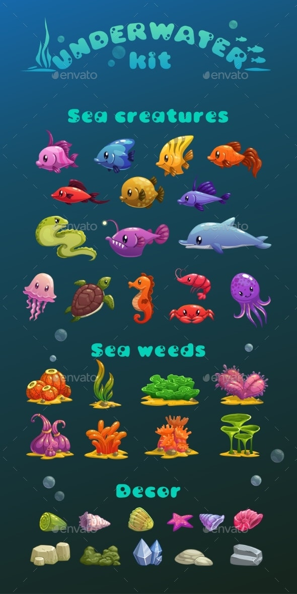 Cartoon Underwater Icons Set - Landscapes Nature