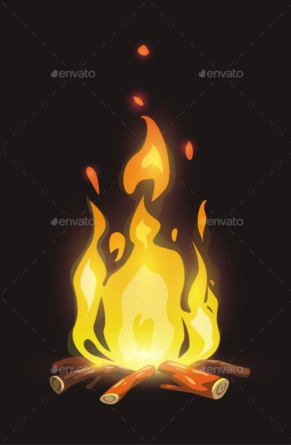 Cartoon Bonfire on Dark Background - Organic Objects Objects