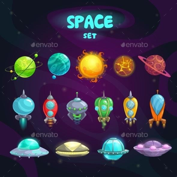 Space Cartoon Icons Set - Miscellaneous Conceptual