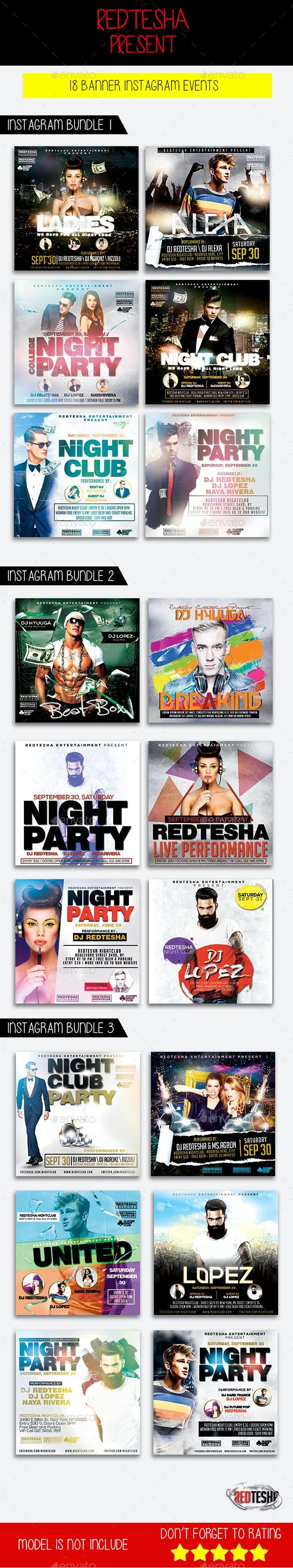 Instagram Banner Events Bundle - Banners & Ads Web Elements