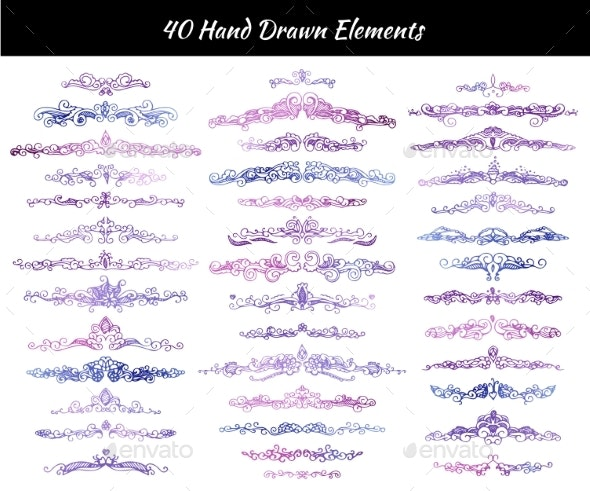 Hand-Drawn Calligraphy Dividers - Borders Decorative