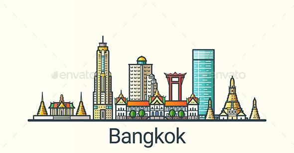 Line Flat Bangkok Banner - Buildings Objects