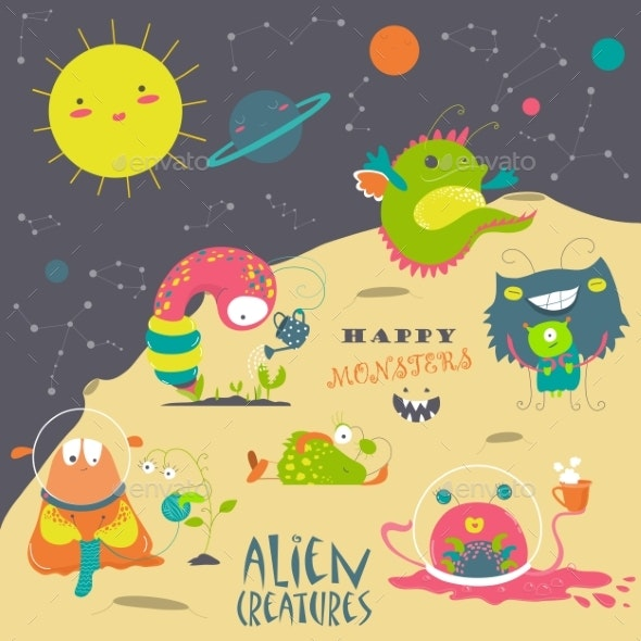 Cartoon Alien and Space - Monsters Characters