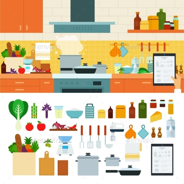 Cooking at Home Using Online Recipes App - Food Objects