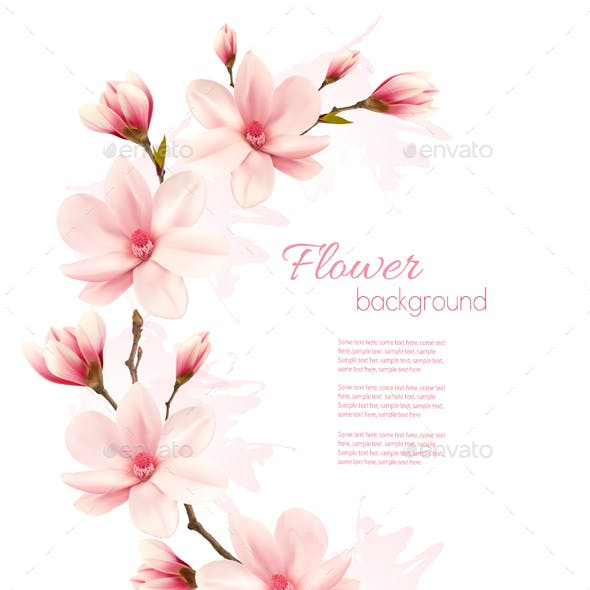 Frame Made Out Of Magnolia Flowers Vector