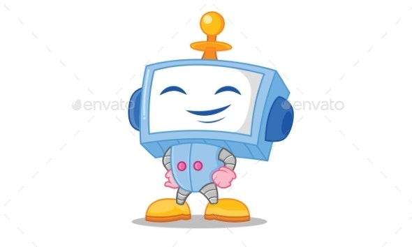 Happy Robot Illustration - Computers Technology