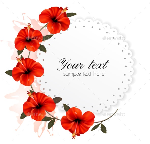 Holiday Background With Red Flowers Vector - Flowers & Plants Nature