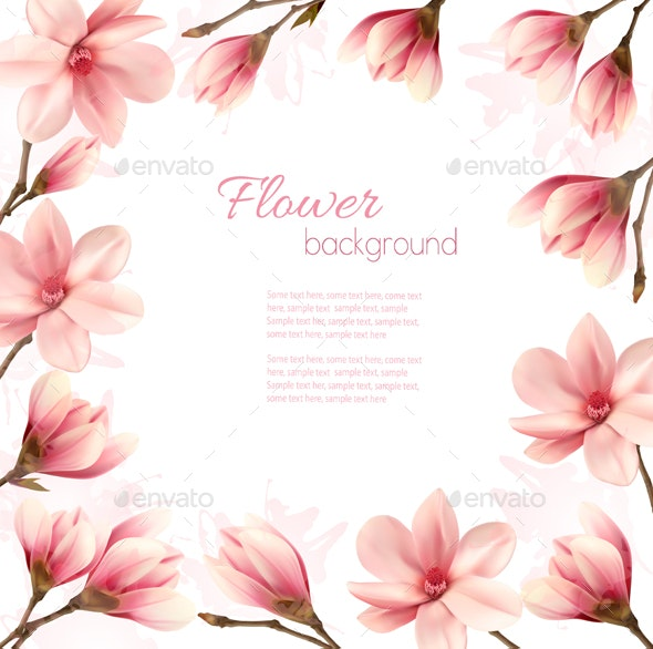 Frame Made Out Of Magnolia Flowers Vector - Flowers & Plants Nature
