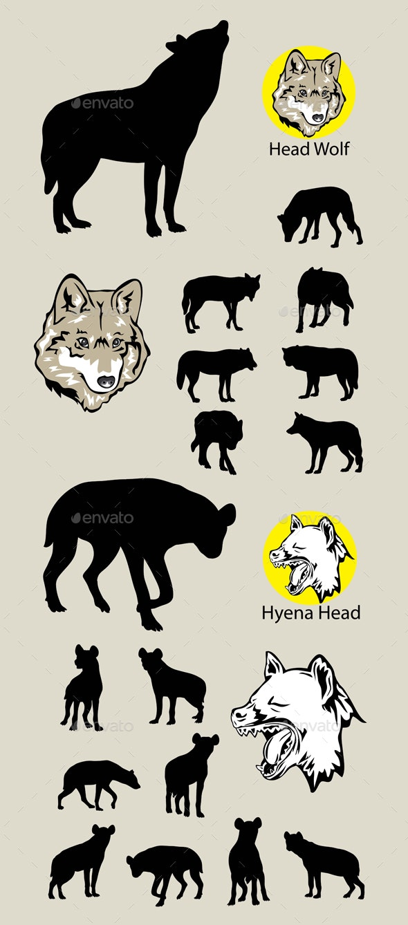 Wolf  Hyena Silhouettes and Logo - Animals Characters