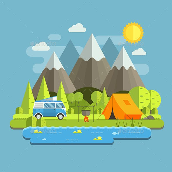 Camping Travel Landscape in Flat Style