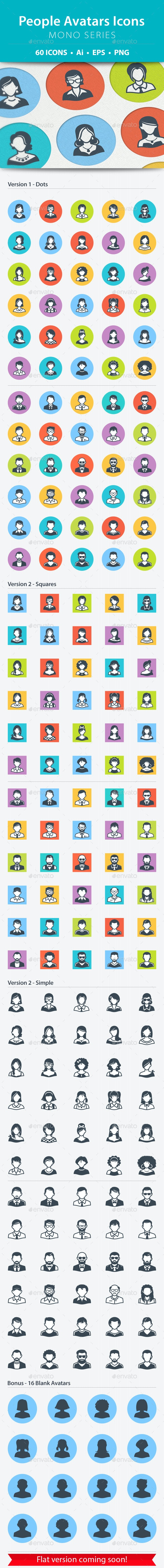 People Avatars Icons - Mono Series - People Characters