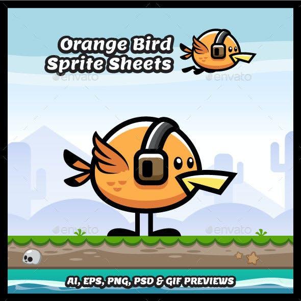 Orange Flying Bird Game Character