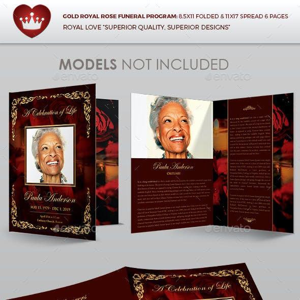 Gold Royal Rose Funeral Program