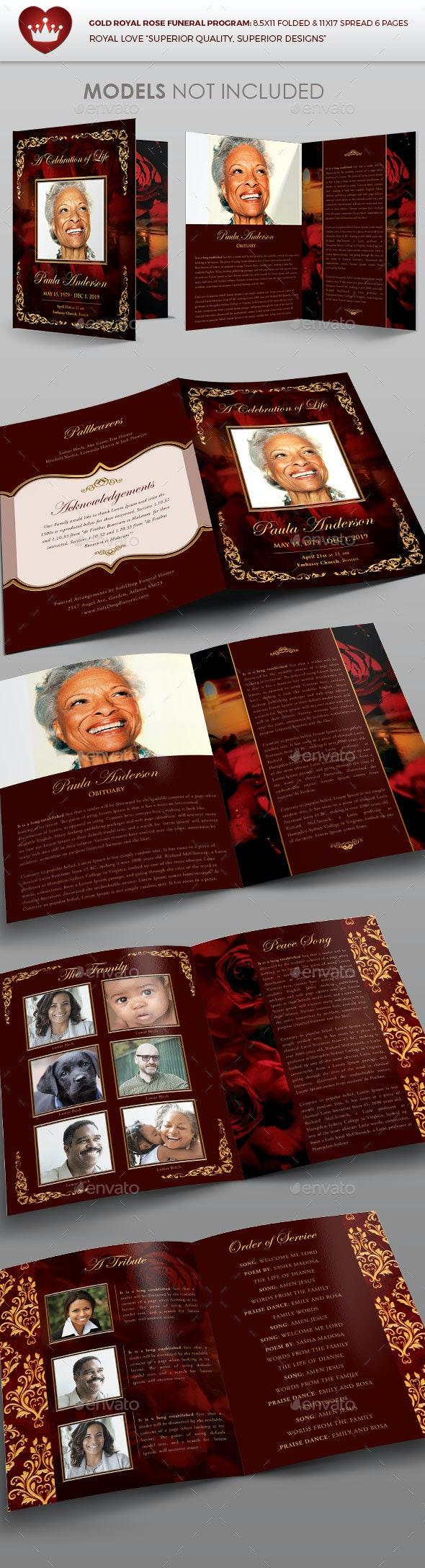 Gold Royal Rose Funeral Program - Brochures Print Templates