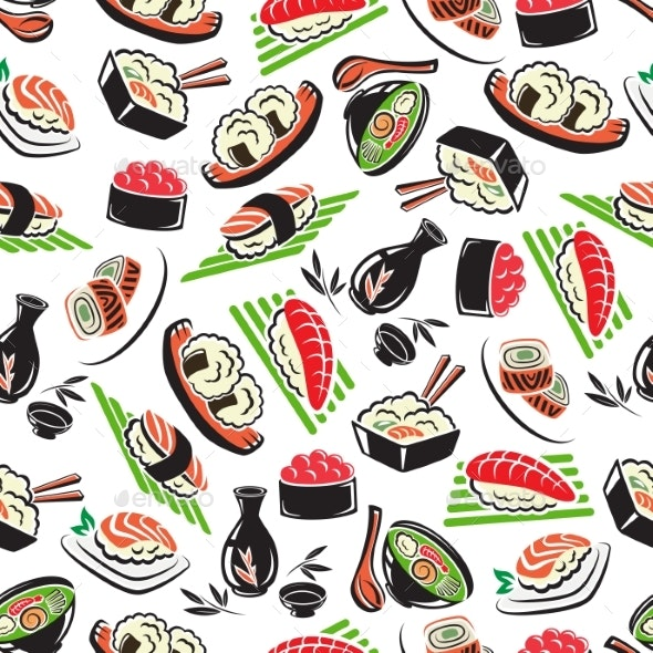 Japanese Seafood Cuisine Seamless Pattern - Backgrounds Decorative