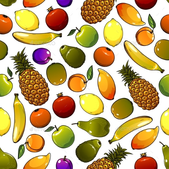 Ripe Tropical Fruits Seamless Pattern - Backgrounds Decorative