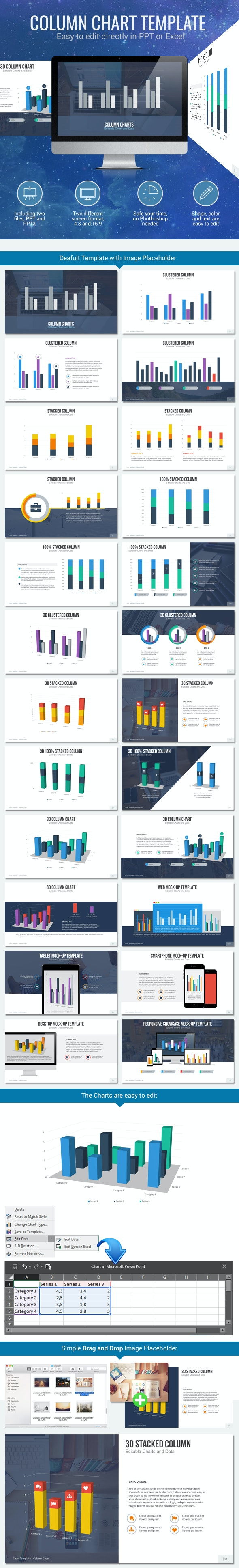 Column Chart - Editable Chart - Business PowerPoint Templates