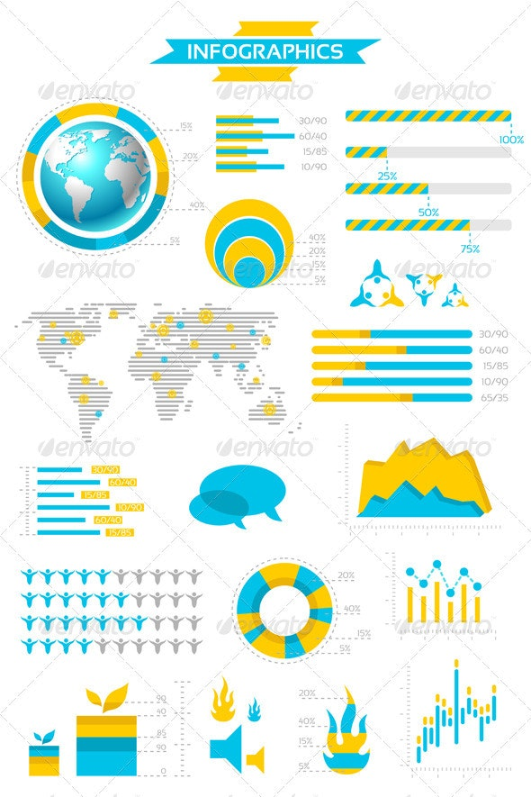 Infographic Collection with Labels and Graphic  - Infographics