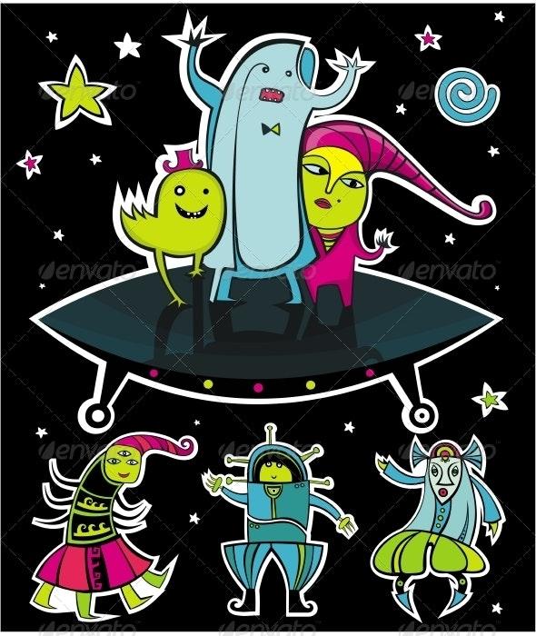 UFO, vector aliens. - Characters Vectors