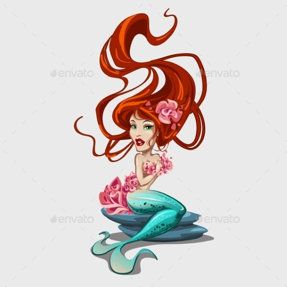 Sweetheart Mermaid With Red Long Hair  - Backgrounds Decorative