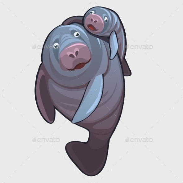 Family Of a Marine Seal Father And Baby - Animals Characters