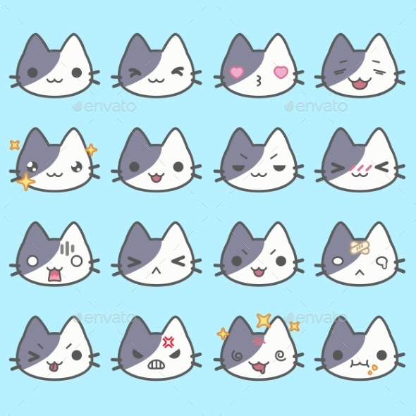 Set Of Simple Cute Cat Emoticons - Animals Characters