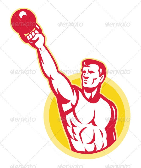 Kettlebell Exercise Weight Training Retro - People Characters