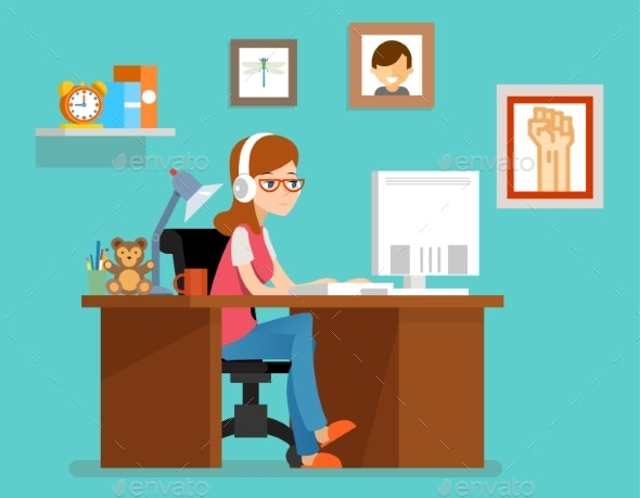 Freelance Woman Working At Home With Computer - People Characters