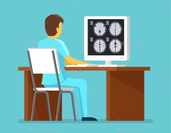 Doctor Researches Results Of MRI Scan. - Health/Medicine Conceptual