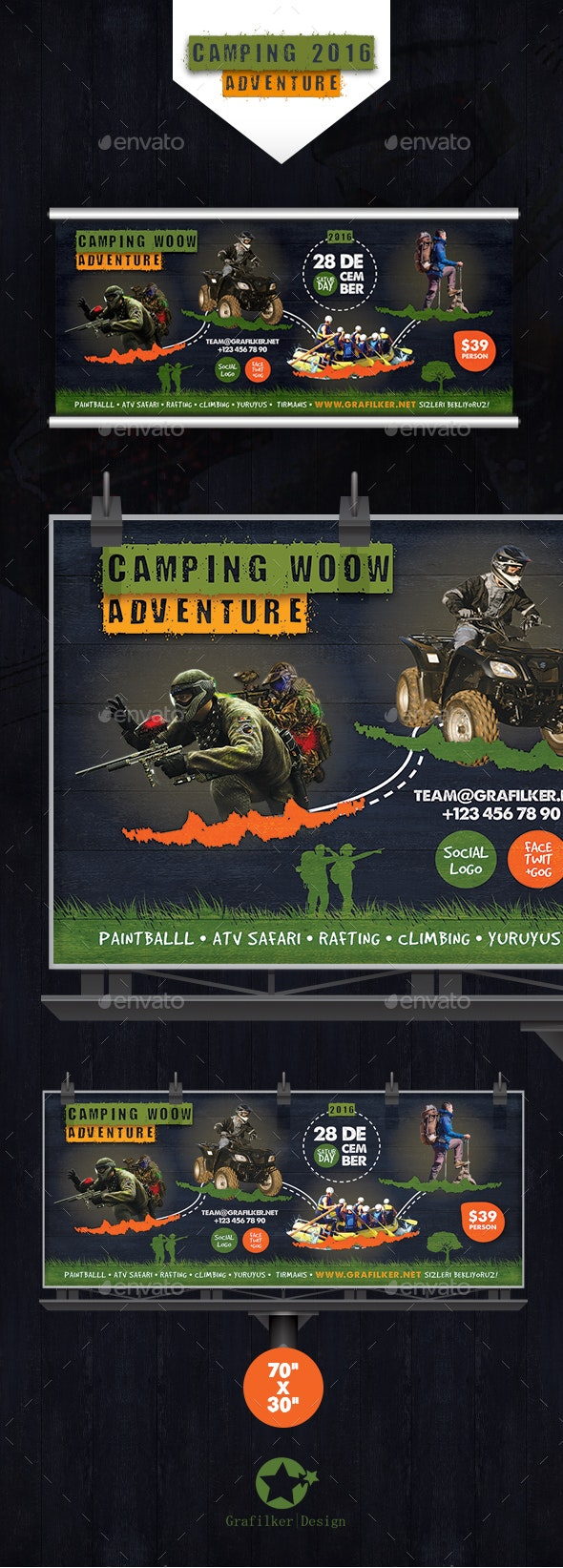 Camping Adventure Billboard Templates - Signage Print Templates