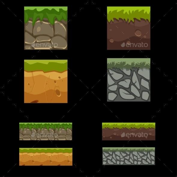 Seamless Landscape Square Elements Set - Landscapes Nature