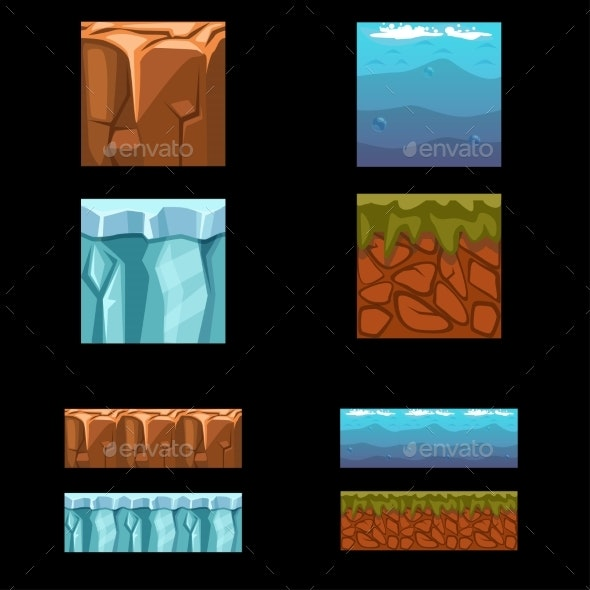 Seamless Landscape Square Elements Set - Landscapes Nature