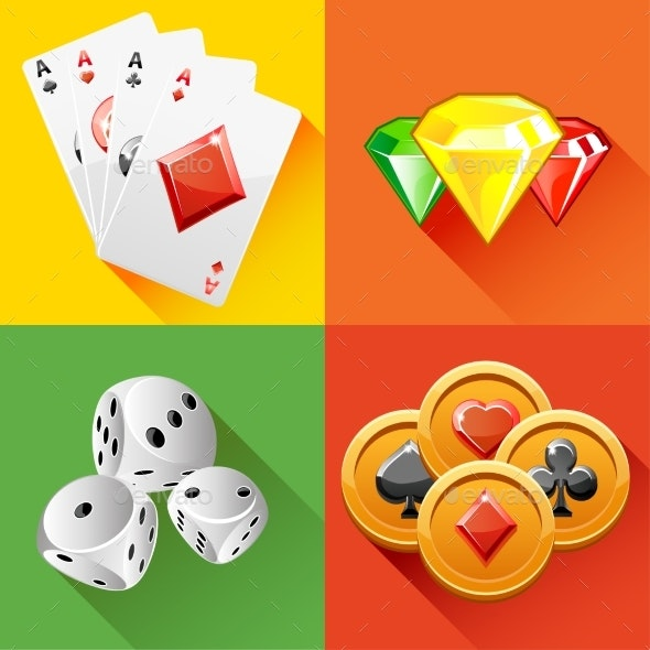 Poker Icon In Vector  - Sports/Activity Conceptual
