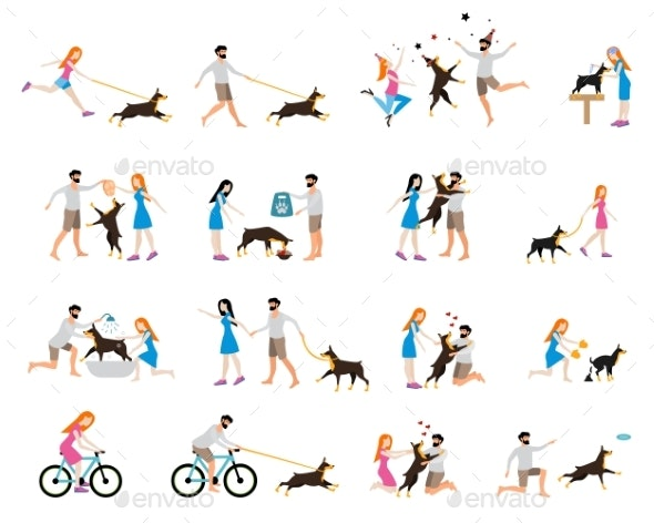 Professional Dog Walking - Animals Characters