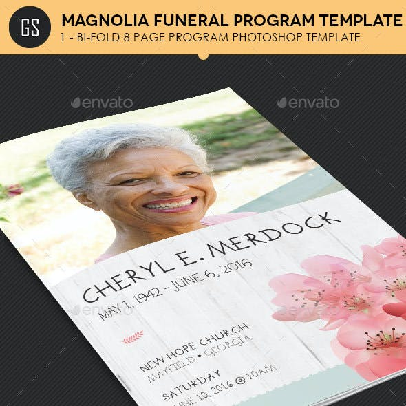 Magnolia Funeral Program Template